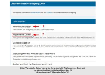 Persönliche und Allgemeine Daten © Screenshot FinanzOnline