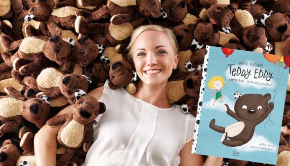 Ingrid Hofer mit Teddy Eddy © Adolf Bereuter, Ingrid Hofer, Martina Schachenhuber, B&B Verlag
