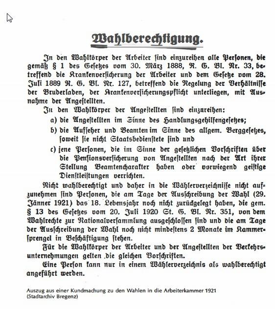 Auszug aus einer Kundmachung zu den Wahlen 1921 © Stadtarchiv Bregenz