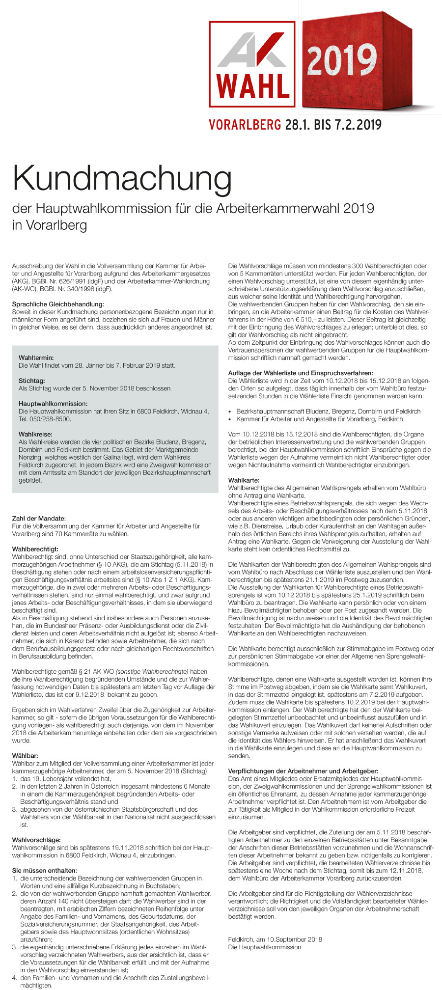 Wahlkundmachung als Bild © pdf Dokument