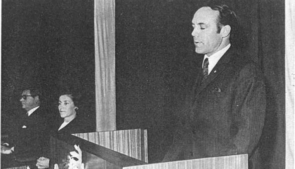 1969: Bertram Jäger bei seiner Antrittsrede © Archivscan
