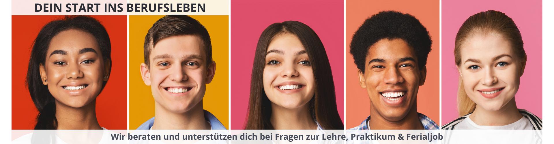 Fünf lächelnde Jugendliche © Prostock-studio, Adobe Stock