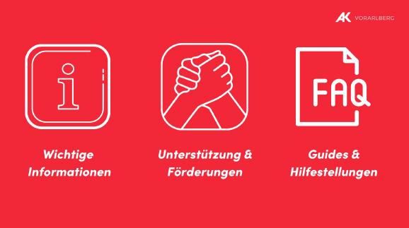 Infos, Unterstützung & Guides zu Job & Corona © AK Vorarlberg, AK Vorarlberg