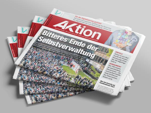 Stapel Zeitungen AKtion November 2018 © AK Vbg.