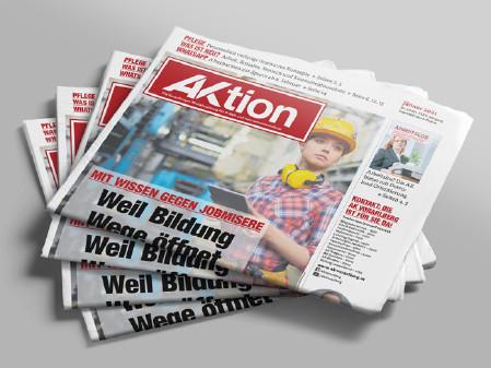 AKtion Jänner 2021 Zeitungsstapel © AK Vbg