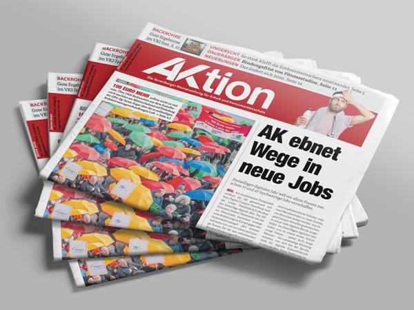 Zeitungsstapel AKtion Jänner 2020 © AK Vbg