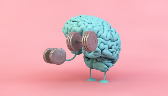 Grafik mit Gehirn das Gewichter stemmt © MclittleStock, Adobe Stock