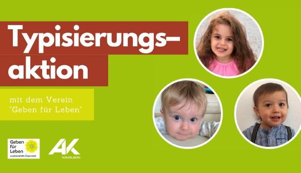 Typisierungsaktion Bilder von drei Kindern © gebenfuerleben.at