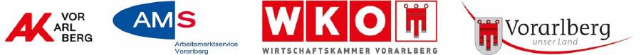 Logos von AK, AMS, WKO und Land Vorarlberg © Logos der Projektpartner