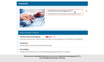 Klick auf Arbeitnehmerveranlagung 2017 © Screenshot