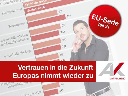 Vertrauen in Zukunft der EU steigt wieder © Grafik: KEYSTONE, Quelle: Europäische Kommission, AK Vorarlberg