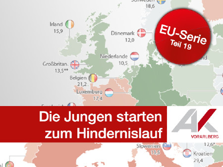 Wenige Jobs in Aussicht © Grafik: KEYSTONE, Quelle: Eurostat, Foto: Fotolia, AK Vorarlberg