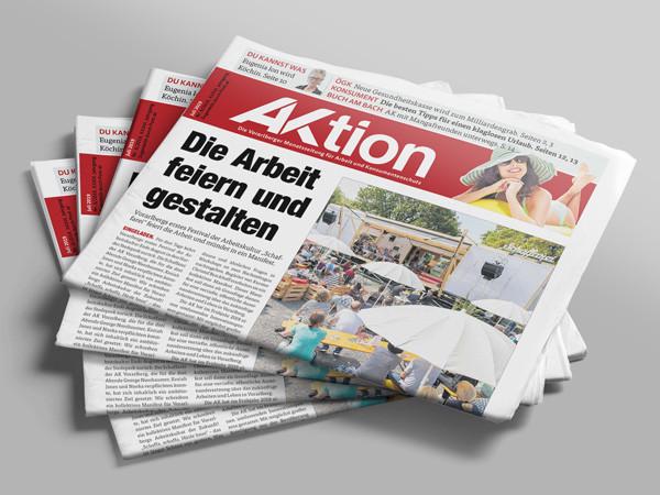 Stapel mit AKtionszeitung © AK Vbg