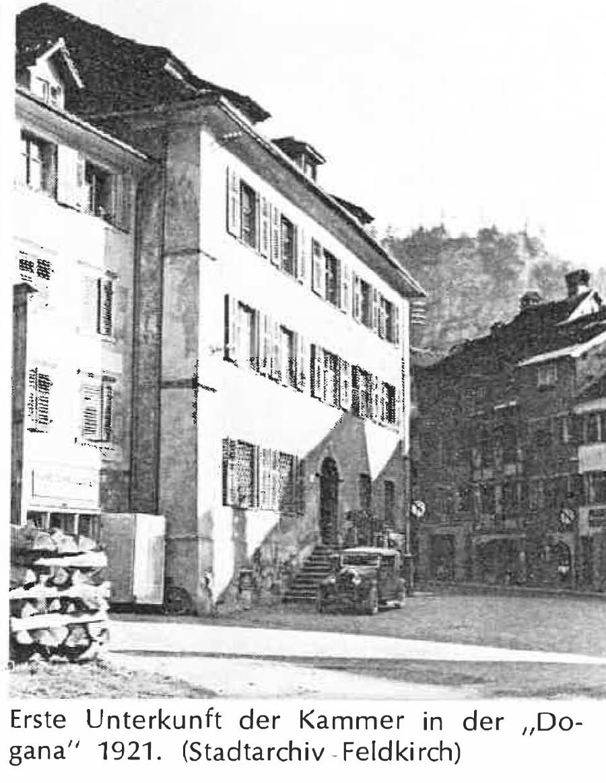 Erste Unterkunft der Kammer in der Dogana 1921 © Stadtarchiv Feldkirch