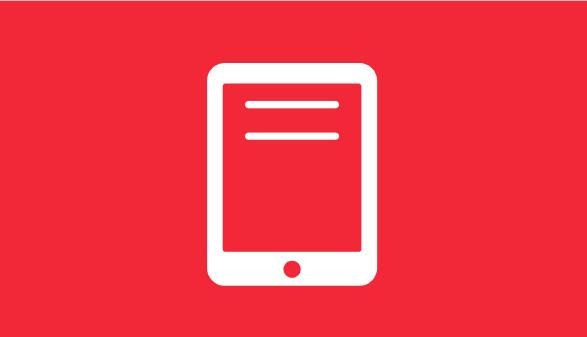 Tablet-Symbol auf rotem Hintergrund © AK Vbg