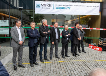 Demonstraten for der GKK in Dornbirn © AK Vbg.