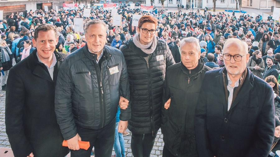 Gewerkschaft und AK ziehen an einem Strang: Bernhard Heinzle, Hubert Hämmerle, Iris Seewald, Fritz Dietrich, Rainer Keckeis. © Mathis Fotografie
