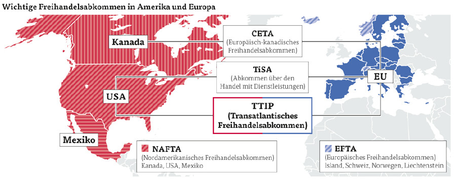 Wichtige Freihandelsabkommen in Amerika und Europa © Quelle: dpa, ifo-Institut, Keystone, APA, Grafik: Keystone