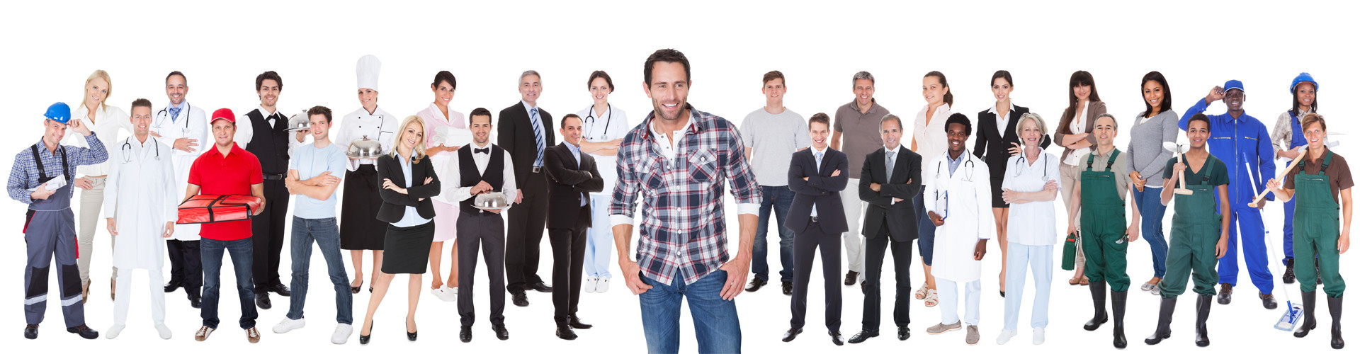 Menschen in unterschiedlichster Berufsbekleidung stehen in einer Reihe zusammen. © Andrey Popov, stock.adobe.com